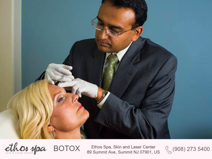 Dr. Soni from Ethos Spa applying Botox to a female patient