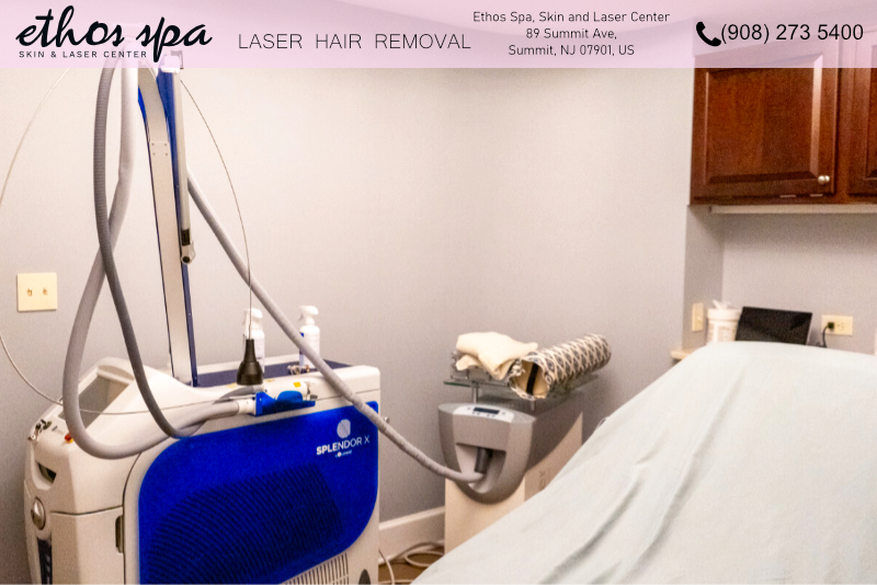 Laser hair removal machine at med spa
